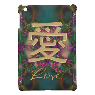Gold Chinese Love Symbol on Delicate Fractal Case For The iPad Mini