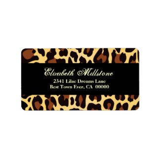 Gold Chocolate and Black Leopard Shower Label