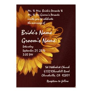 Gold Chocolate Sunflower Wedding Premium Metallic 5x7 Paper Invitation Card