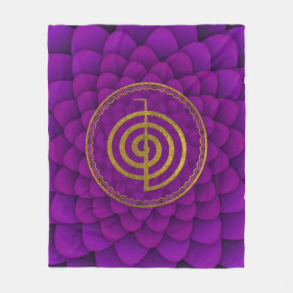 Gold  Choku Rei Symbol on lotus Fleece Blanket