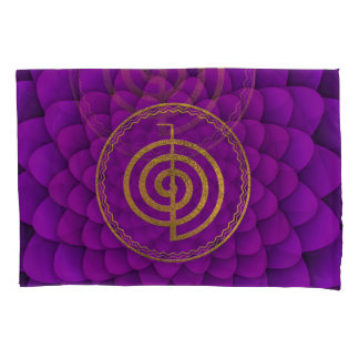 Gold  Choku Rei Symbol on lotus Pillow Case