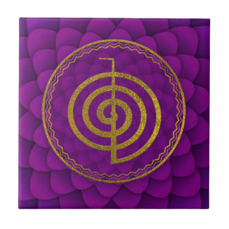 Gold  Choku Rei Symbol on lotus Tile