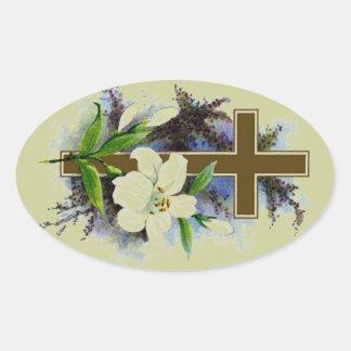 Gold Christian Cross Oval Sticker