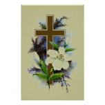 Gold Christian Cross Posters