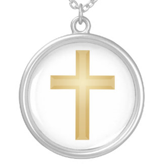 Gold Christian Cross Silver Plated Necklace