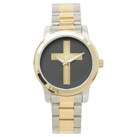Gold Christian Cross Watch