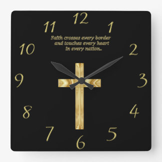 Gold Christian Faith cross with funny saying Square Wall Clock
