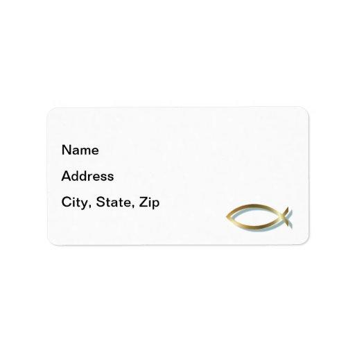 Gold Christian Fish Custom Address Label