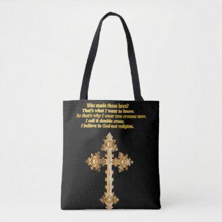 Gold Christian Fun cross with funny saying Tote Bag
