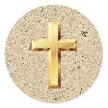 Gold Christian Holy Cross Texture Pattern Sticker