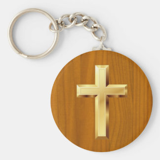 Gold Christian Holy Cross Wooden Pattern Keychain