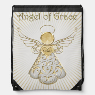 Gold Christmas Angel of Grace Sun Rays Drawstring Backpack