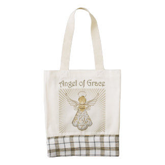 Gold Christmas Angel of Grace Sun Rays Zazzle HEART Tote Bag