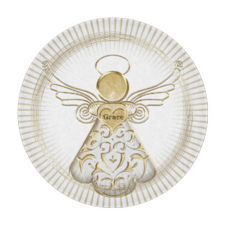 Gold Christmas Angel of Grace Sunbeams Cutting Board