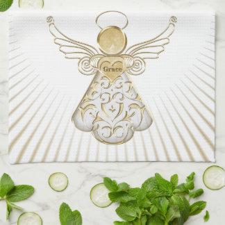 Gold Christmas Angel of Grace Sunbeams Kitchen Towel