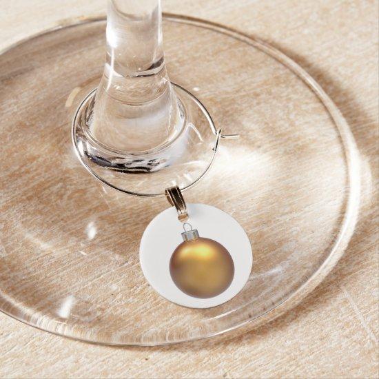 Gold Christmas Ball Holiday Wine Charm