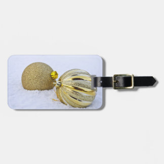 Gold Christmas Ball Ornaments in the Snow Bag Tag