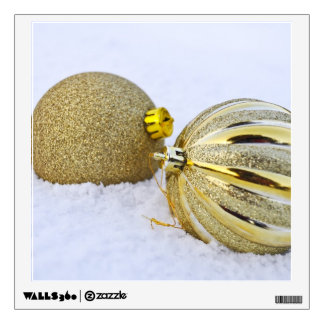 Gold Christmas Ball Ornaments in the Snow Wall Decal