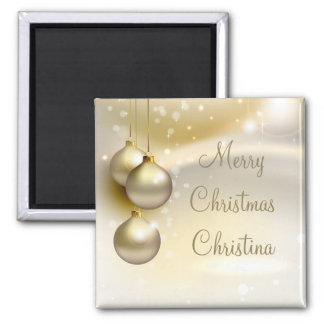 Gold Christmas Balls on Gold 2 Inch Square Magnet