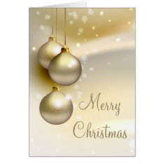Gold Christmas Balls On Gold Card at Zazzle
