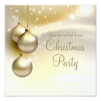 Gold Christmas Balls on Gold Christmas Party Card
