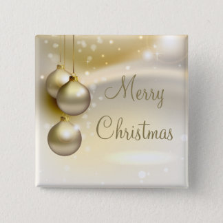 Gold Christmas Balls on Gold Pinback Button