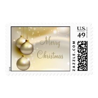 Gold Christmas Balls on Gold Postage