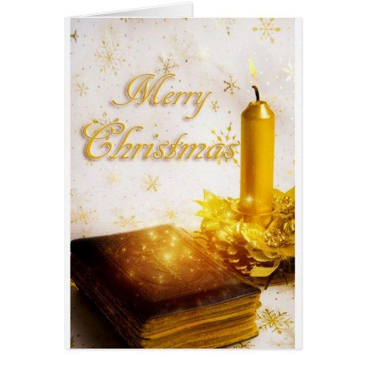 Gold Christmas Candle Christmas Card by Jitka
