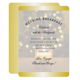 Gold Christmas Candle Wedding Breakfast Invitation