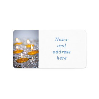 Gold Christmas candles Address Label