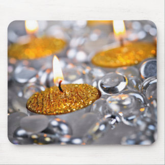 Gold Christmas candles Mouse Pad