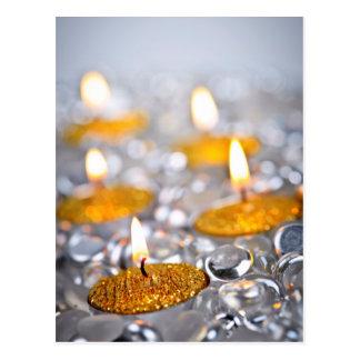Gold Christmas candles Postcard