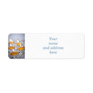 Gold Christmas candles Return Address Label