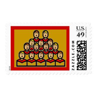 Gold Christmas Choir Boys Singing Holiday Stamp