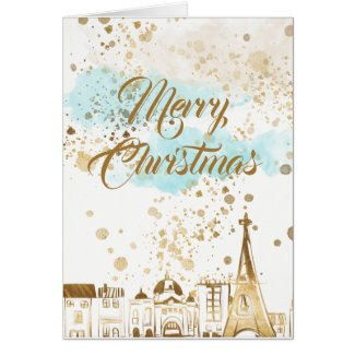 Gold Christmas City with Blue Clouds and Glitter