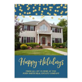 Gold Christmas Confetti Photo Card Real Estate