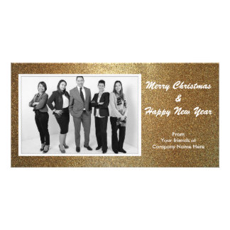 Gold Christmas Custom Photo Business Greeting Card