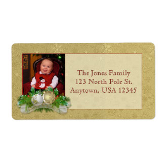 Gold Christmas Damask Photo Labels