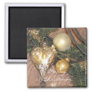 Gold Christmas Decorations and Greenery 2 Inch Square Magnet