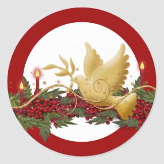 Gold Christmas dove of peace candles Stickers