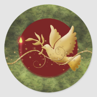 Gold Christmas dove of peace christian event stick Classic Round Sticker