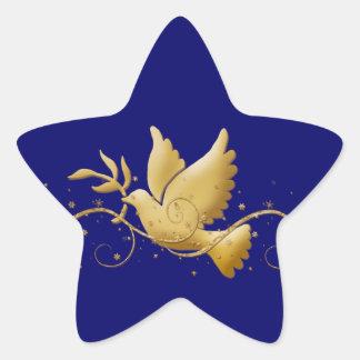 Gold Christmas dove of peace christian event stick Star Sticker