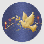 Gold Christmas dove peace candles Classic Round Sticker