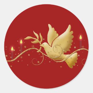 Gold Christmas dove peace elegant Classic Round Sticker