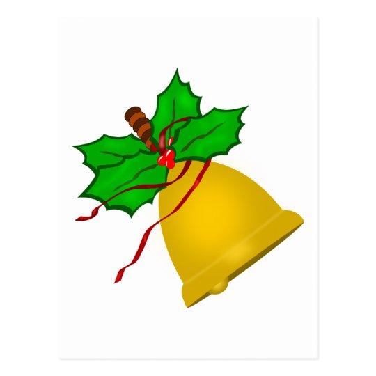 Gold Christmas Handbell Postcard