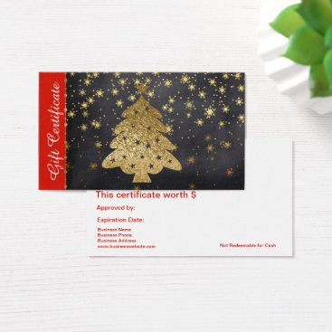 Professional Business Gold Christmas Holiday Gift Card Certificate