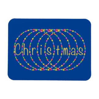 Gold Christmas Lights Design on Blue Magnet