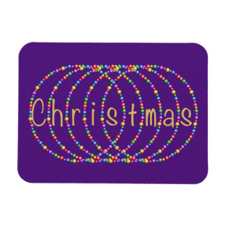 Gold Christmas Lights Design on Purple Magnet