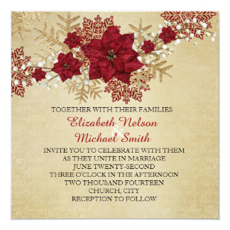 Gold Christmas Miracle Wedding Invite
