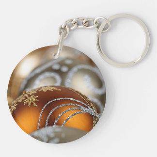 Gold Christmas ornaments closeup Keychain